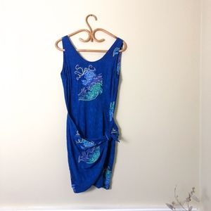 Blue Tropical Faux Wrap Fish Embellished Dress